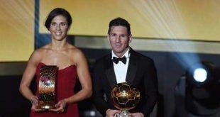 O argentino Lionel Messi e a norte-americana Carli Lloyd foram os vencedores da Bola de Ouro de 2015 (EPA/Valeriano di Domenico/Agência Lusa)