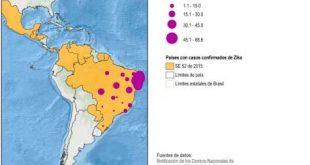 Mapa da Organização Pan-Americana da Saúde (OPAS/OMS) mostra ocorrências de zika vírus se espalhando.