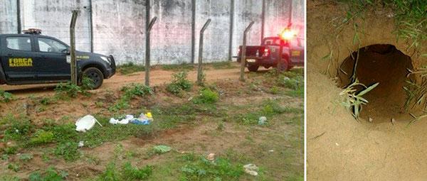 Túnel escavado de dentro do pavilhão 1 foi encontrado neste sábado (Foto: Divulgação - Força Nacional).
