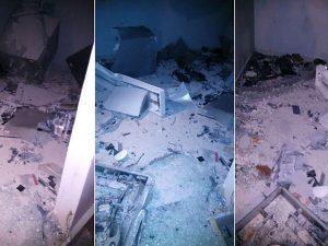 Com a explosão, o prédio ficou parcialmente destruído (Foto: Divulgação PM).