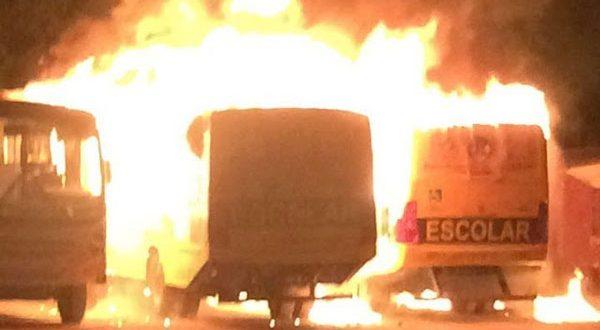 Veículos estavam no estacionamento da Prefeitura do município e foram completamente destruídos pelo fogo (Foto: PM Divulgação).