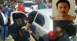 Kariele Carpegiani foi morto a tiros dentro do carro (Foto: Luciano Lellys).
