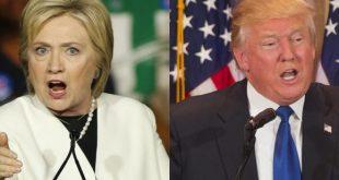 Hillary Clinton e Donald Trump disputam voto a voto na eleição de hoje nos Estados Unidos (Foto: Agência Lusa).