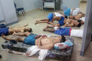 Foto mostra pelo menos oito feridos no presídio de Caicó