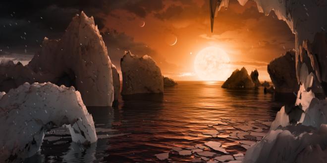 Esta ilustração mostra a possível superfície de TRAPPIST-1f, um dos planetas recém-descobertos no sistema TRAPPIST-1. Cientistas usando o telescópio espacial Spitzer e telescópios terrestres descobriram que existem sete planetas do tamanho da Terra no sistema. Foto NASA / JPL-Caltech