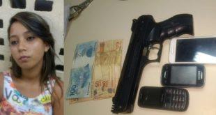 Alice da Costa Gonçalves, de 18 anos, e um menor foram levados para a Delegacia de Plantão (Foto: Divulgação Polícia).