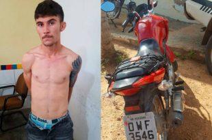 Bruno Rafael dos Santos Nascimento estava com a motocicleta utilizada no crime e quatro celulares de vítimas de assaltos (Foto: Fim da Linha).