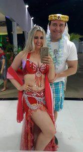 Em noite de Festa a fantasia o casal Marcelo Fernandes e sua musa Raquel Gurgel. Um luxo!