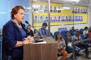 Vereadora Sandra Rosado discursa sobre segurança na sessão desta terça-feira - Foto: Edilberto Barros/CMM