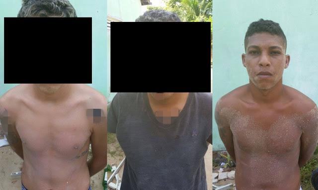 Jefferson Alison da Silva e dois menores, de 17 anos, foram presos com carros, diversos objetos roubados e arma (Foto: Passando na Hora).