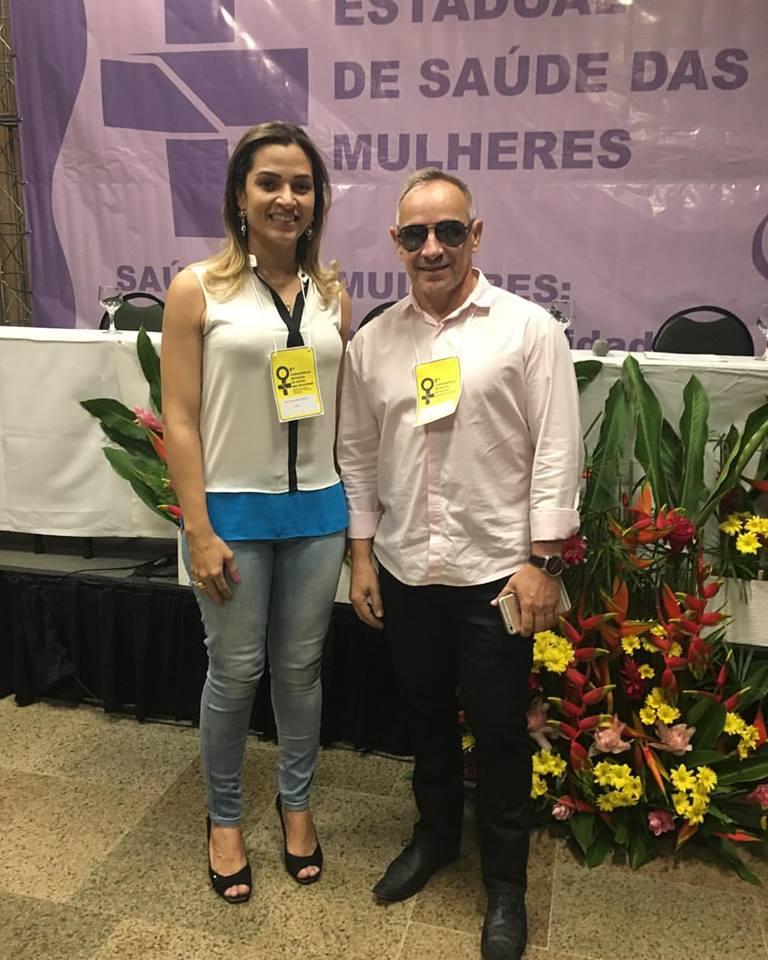 Mona Lisa Torquato e Vicente de Paula (Paulinho), participando da I Conferência Estadual de Saúde da Mulher, em Natal.
