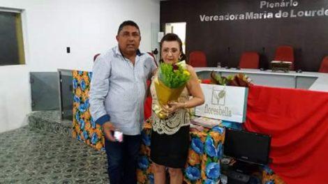 Ex Primeira Dama Margareth Souza Bezerra com este Colunista em homenagem pela Revista KACTUS em Afonso Bezerra.