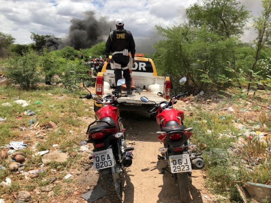Veículos estavam escondidos em matagal (Foto: Divulgação PM).