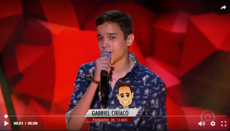 O jovem Gabriel Ciriaco, representante potiguar no The Voice Kids. Estamos na torcida!!! (Foto: Reprodução Globo Play).