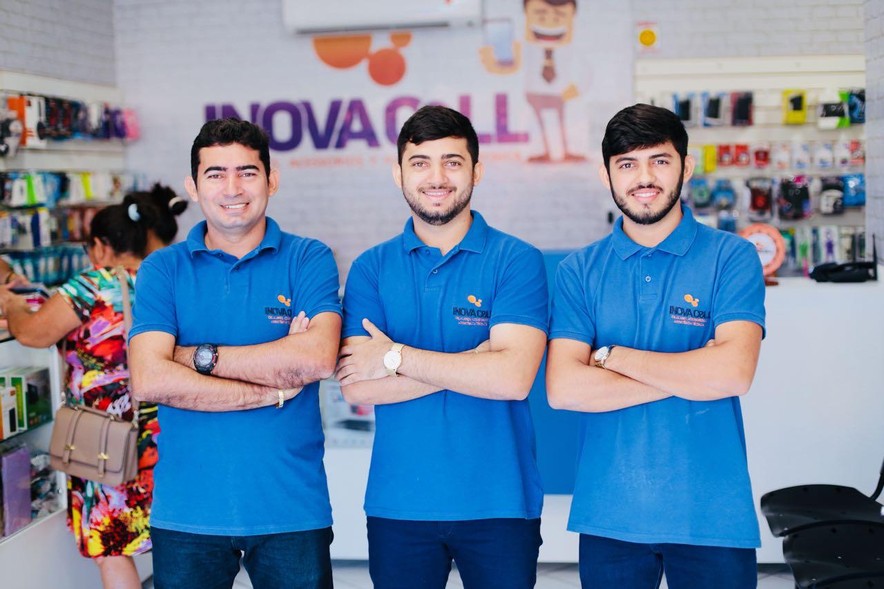 Antônio Luzaíldo, Thiago Luã e Luiz Junior, equipe da Inova Cell, sempre prontos para atender os clientes e amigos.