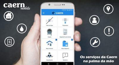 O download pode ser feito através da Play Store, identificando o app CAERN Mobile.