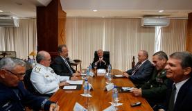 O presidente Michel Temer participa de reunião do Conselho Militar de Defesa, no Ministério da Defesa.Marcos Corrêa/PR