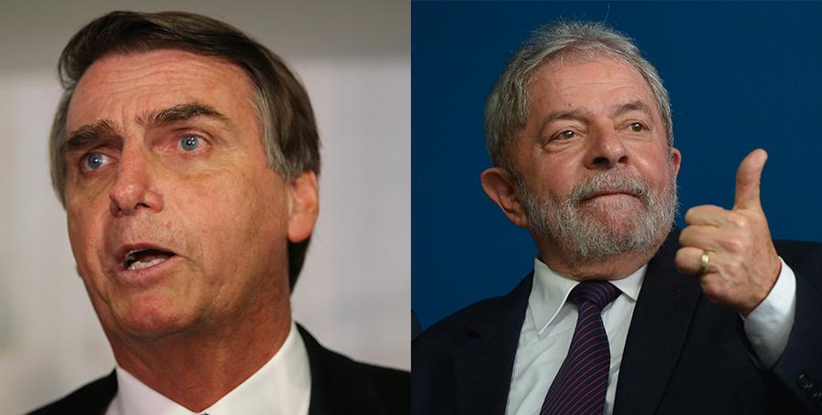 O ex-presidente Lula (PT) e o deputado Jair Bolsonaro (PSL-RJ) respondem a ações penais.