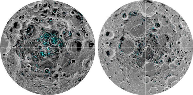 Foram identificados dois polos na lua que comprovam a existência de superfícies de gelo.