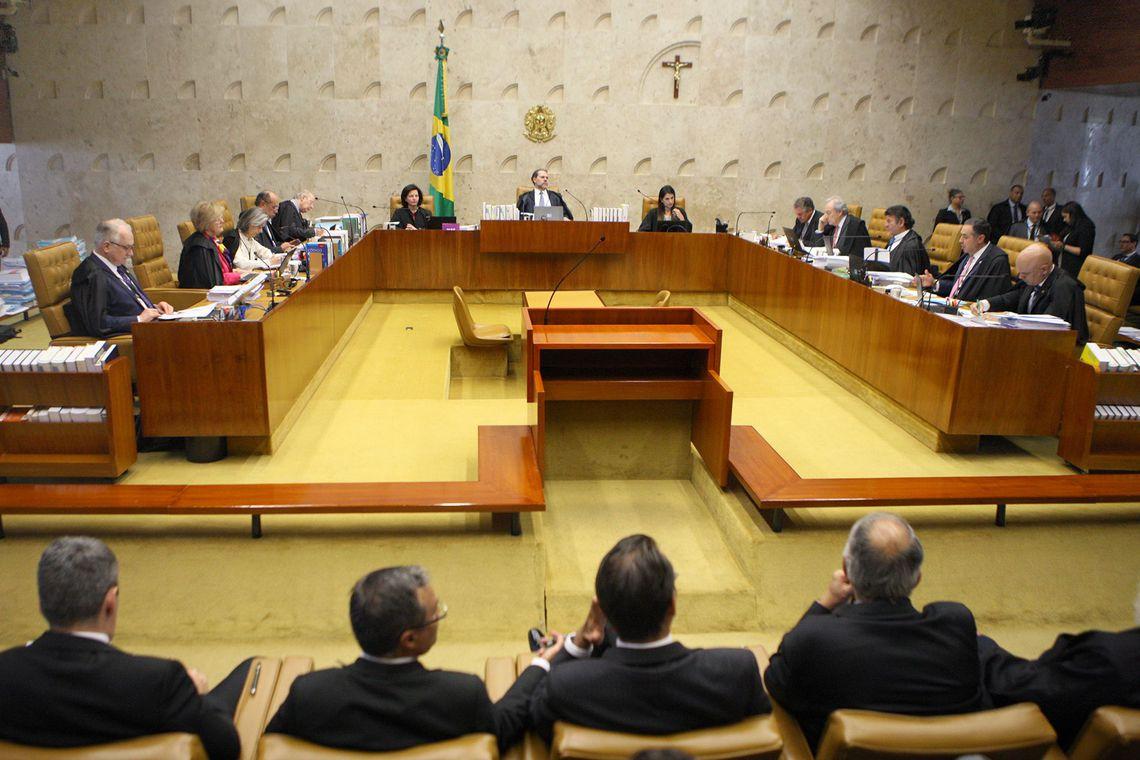 Plenário do Supremo Tribunal Federal (STF) durante julgamento sobre a constitucionalidade do decreto do indulto natalino editado pelo presidente Michel Temer, no ano passado. O relator do caso, é ministro Luís Roberto Barroso.