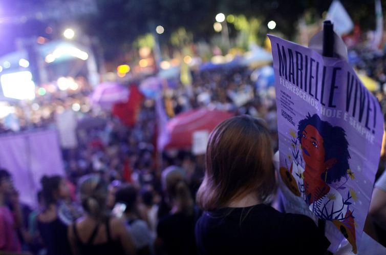 Manifestação marca um ano do assassinato da vereadora Marielle Franco e do motorista Anderson Gomes -Reuters/Ricardo Moraes/Direitos Reservados