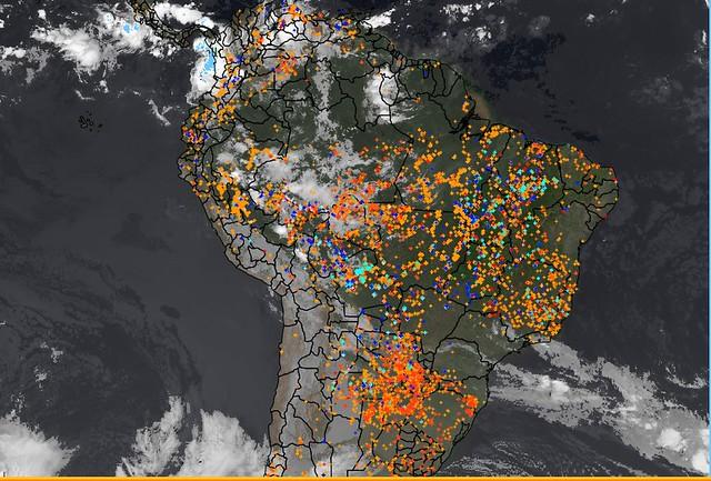 Satélite do Inpe mostra os pontos de focos de incêndio no último dia 2 de setembro / Reprodução| Inpe