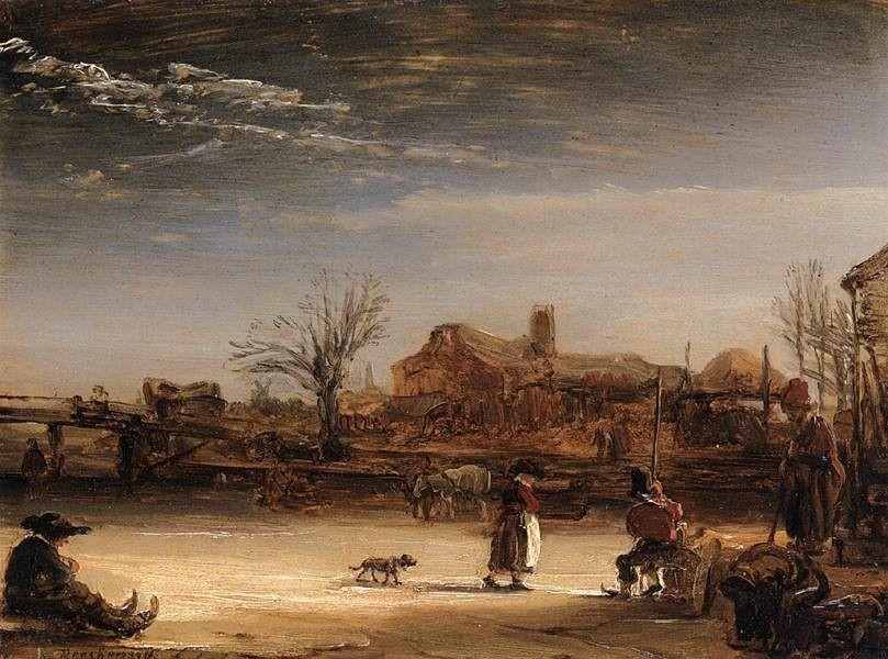 Rembrandt, tela Winter Landscape