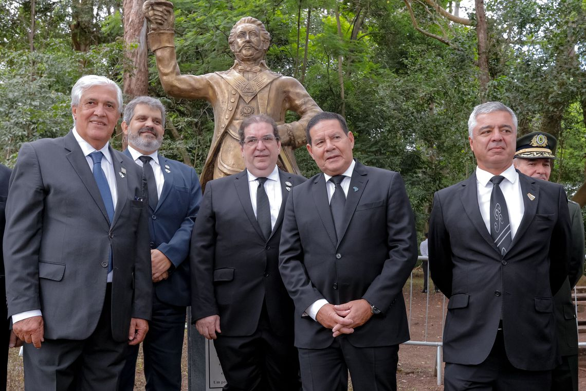 O presidente da República em Exercício, Hamilton Mourão, durante Inauguração da estátua de D.Pedro I no Parque da Independência em comemoração dos 466 anos da cidade de São Paulo.